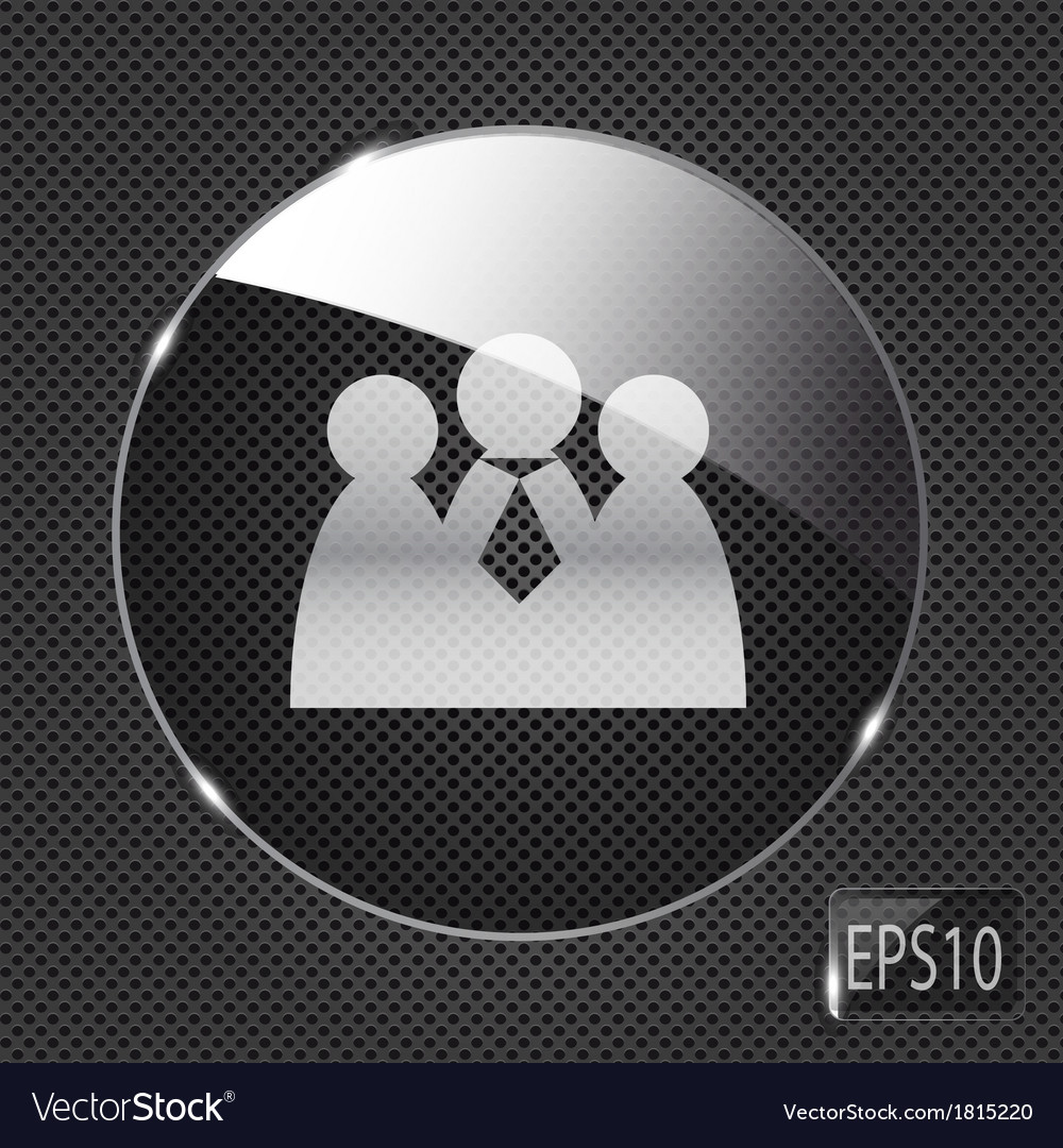 Glass social network button icon on metal vector | Price: 1 Credit (USD $1)
