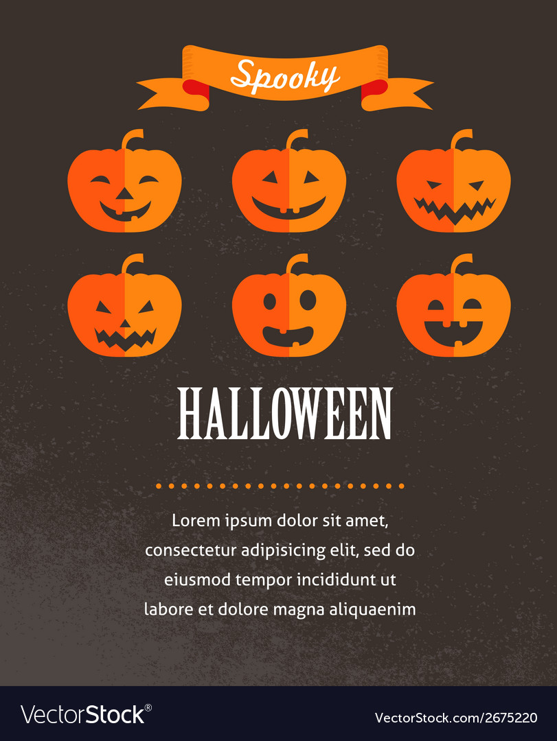 Halloween cute poster with pumpkins vector | Price: 1 Credit (USD $1)