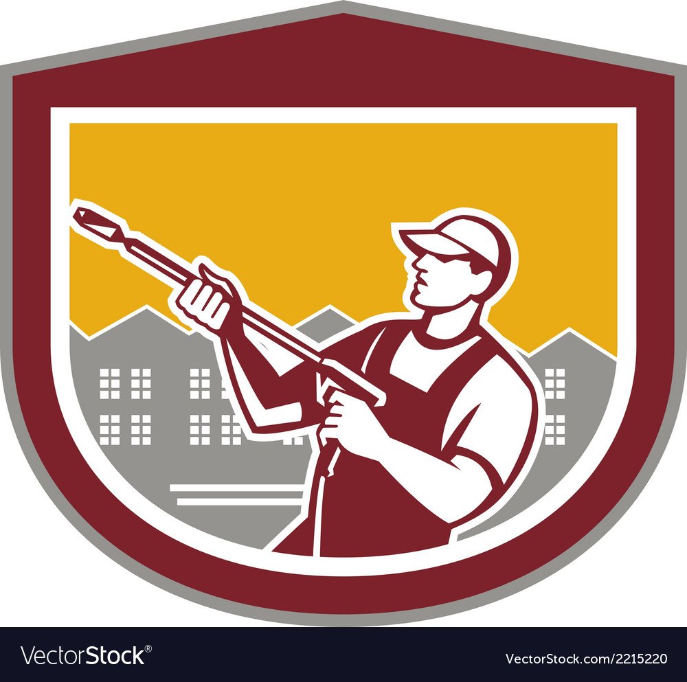 Pressure washer clleaner worker retro shield vector | Price: 1 Credit (USD $1)