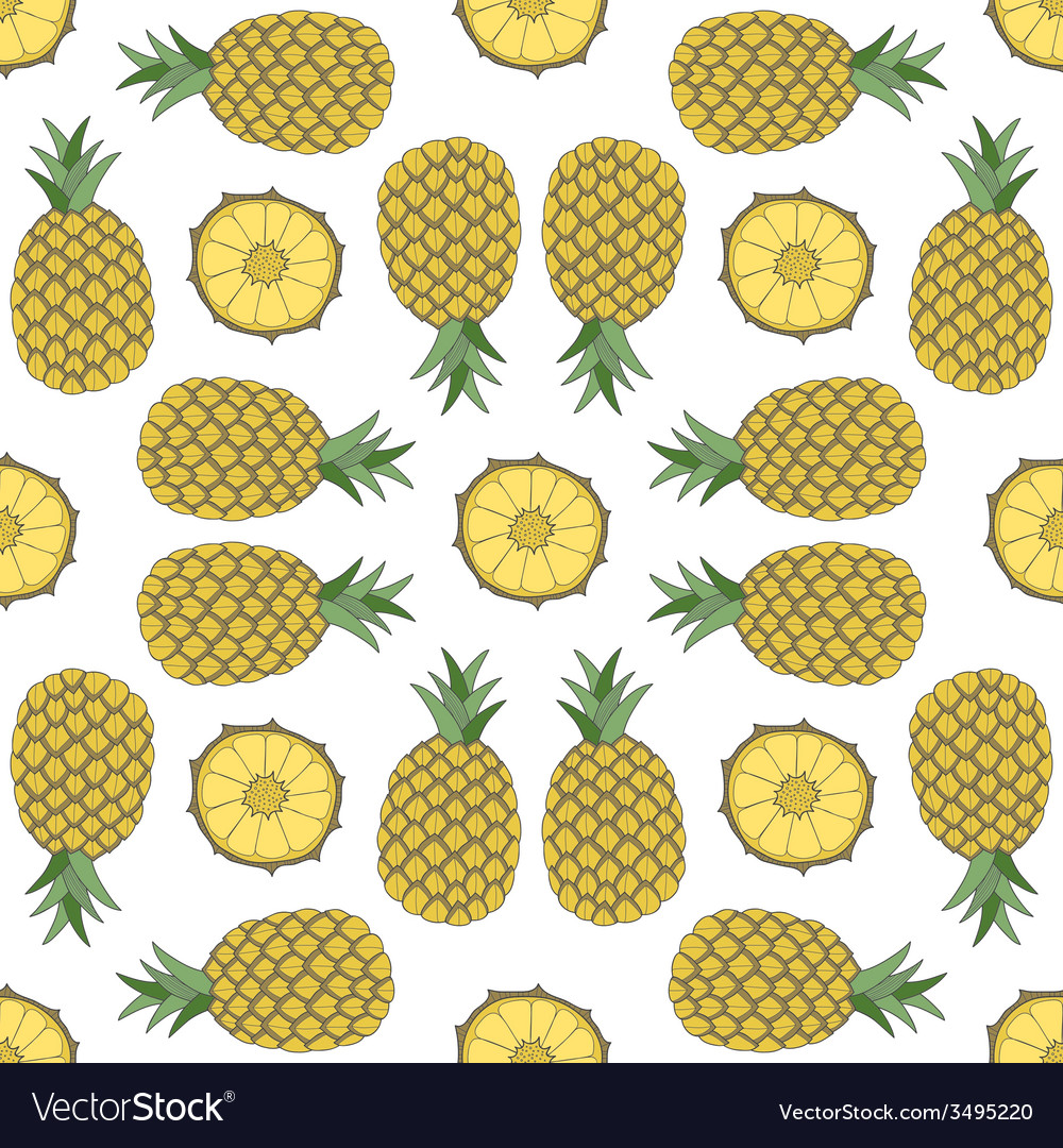 Seamless fruit pattern of pineapple vector | Price: 1 Credit (USD $1)
