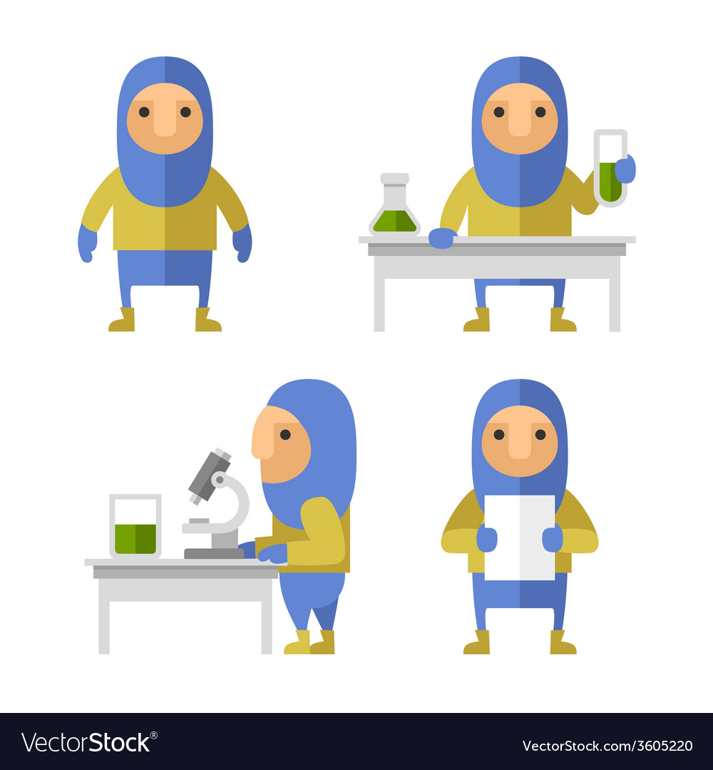 Set of scientist characters in lab flat style vector | Price: 1 Credit (USD $1)