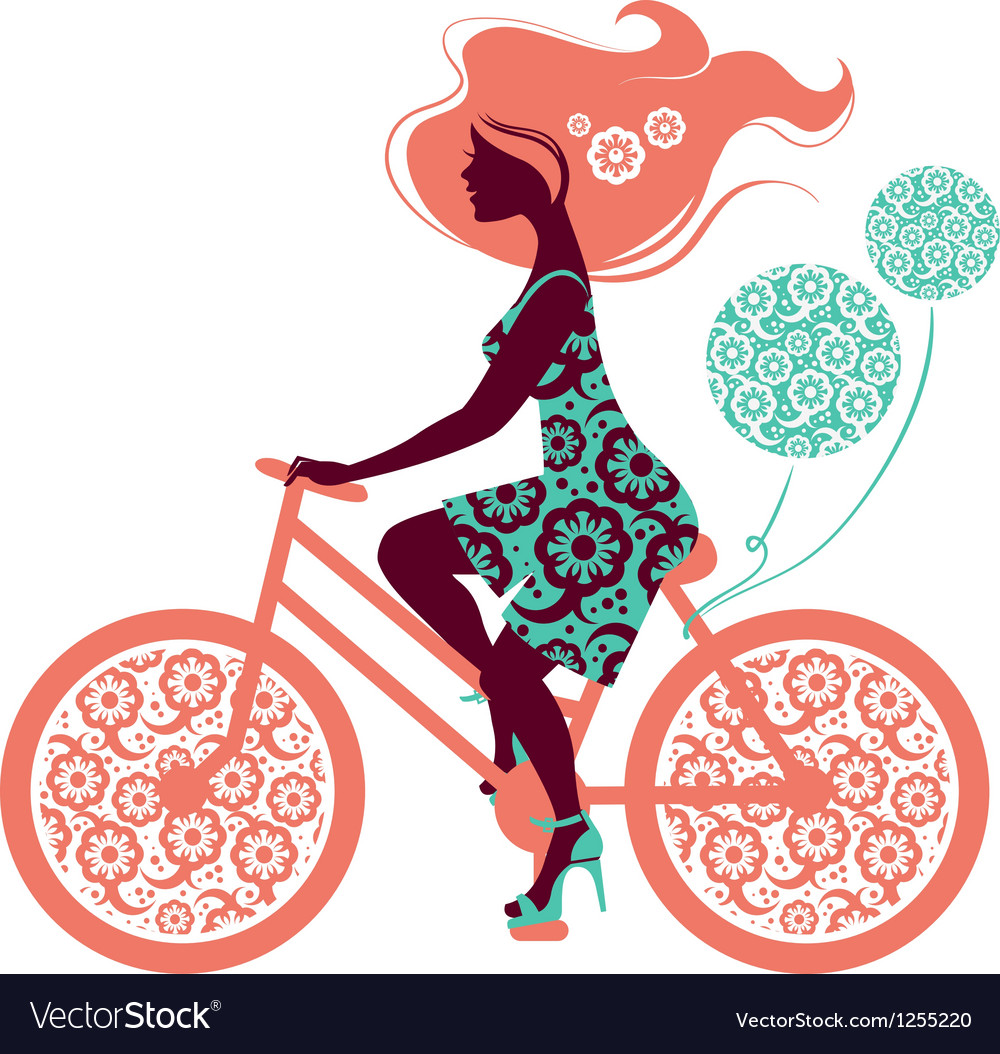 Silhouette of beautiful girl on bicycle vector | Price: 3 Credit (USD $3)