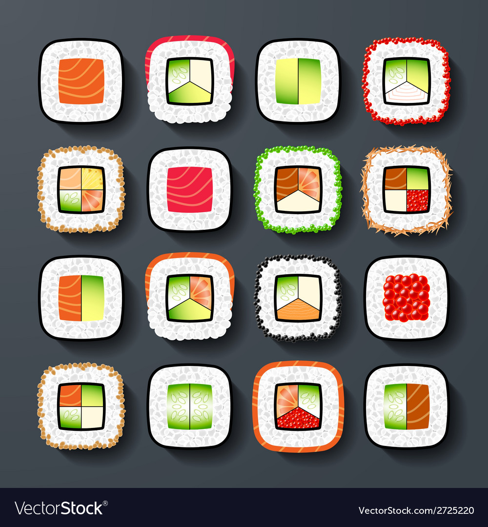 Sushi types vector | Price: 1 Credit (USD $1)