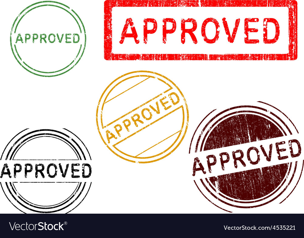 5 grunge stamps approved vector | Price: 1 Credit (USD $1)