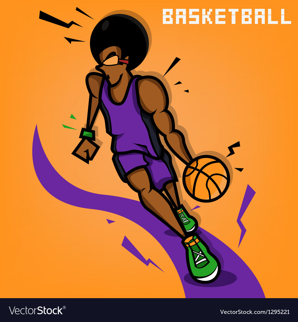 Afro basketball player vector | Price: 1 Credit (USD $1)