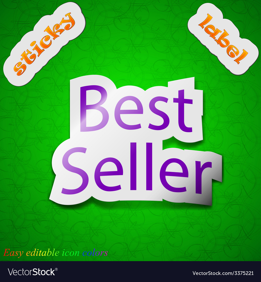 Best seller icon sign symbol chic colored sticky vector | Price: 1 Credit (USD $1)