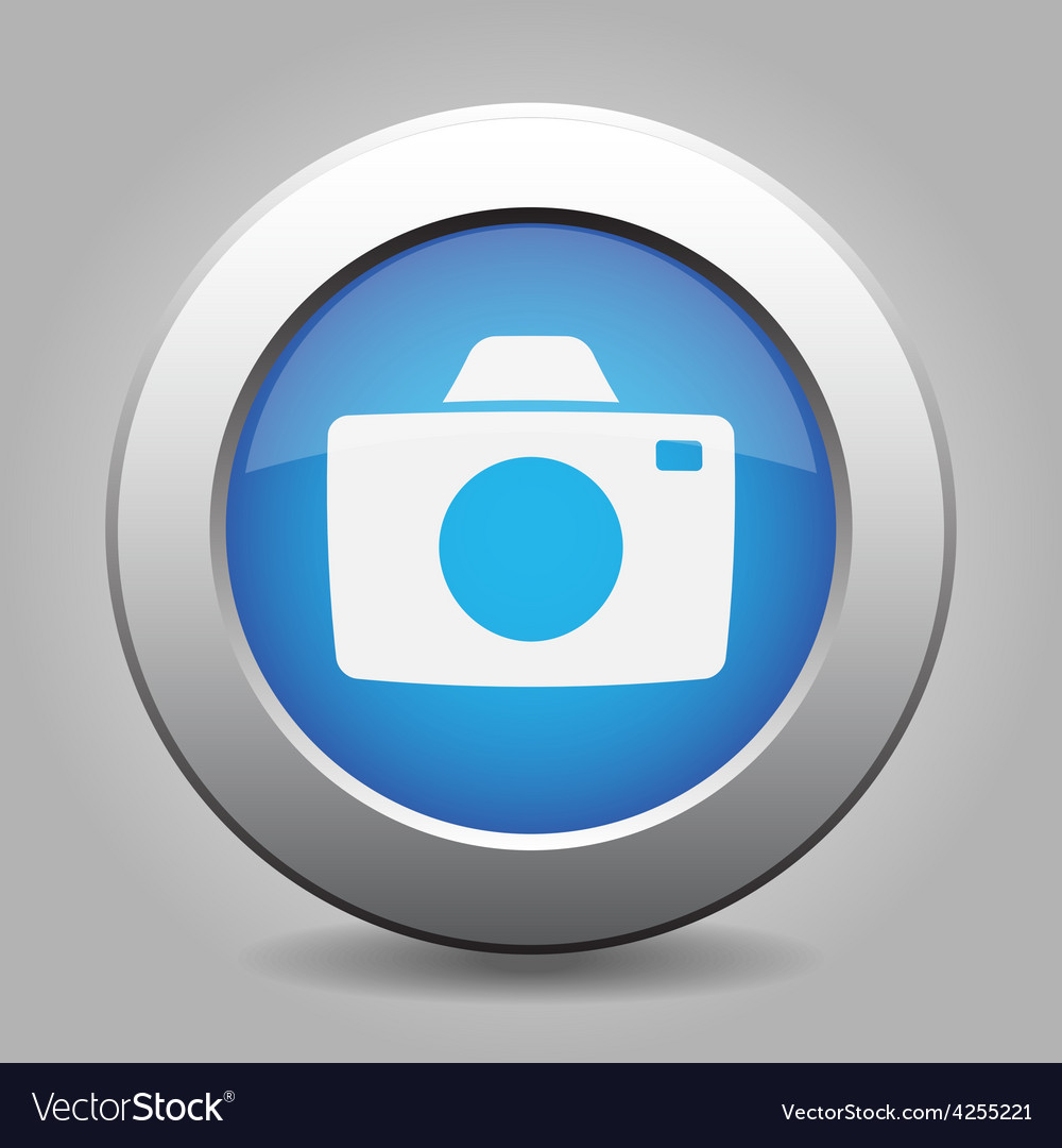 Blue metal button with camera vector | Price: 1 Credit (USD $1)