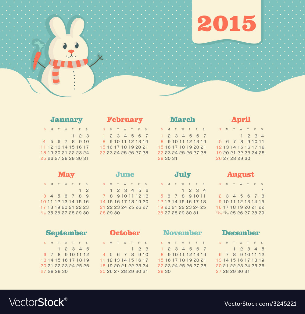 Calendar 2015 year with snowman vector | Price: 1 Credit (USD $1)