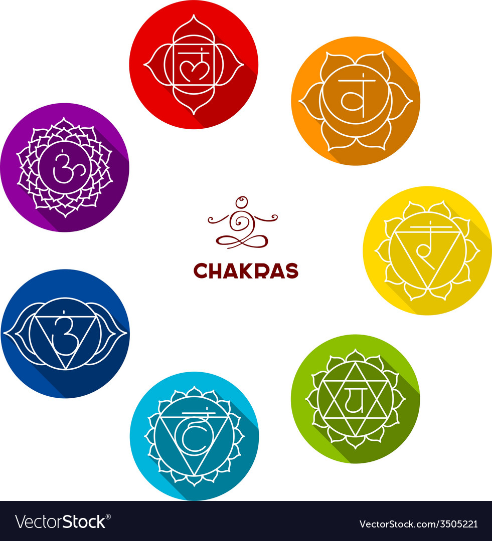 Chakra color flat set vector | Price: 1 Credit (USD $1)