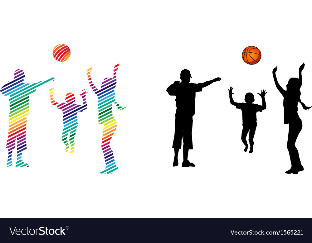 Children play volleyball vector | Price: 1 Credit (USD $1)