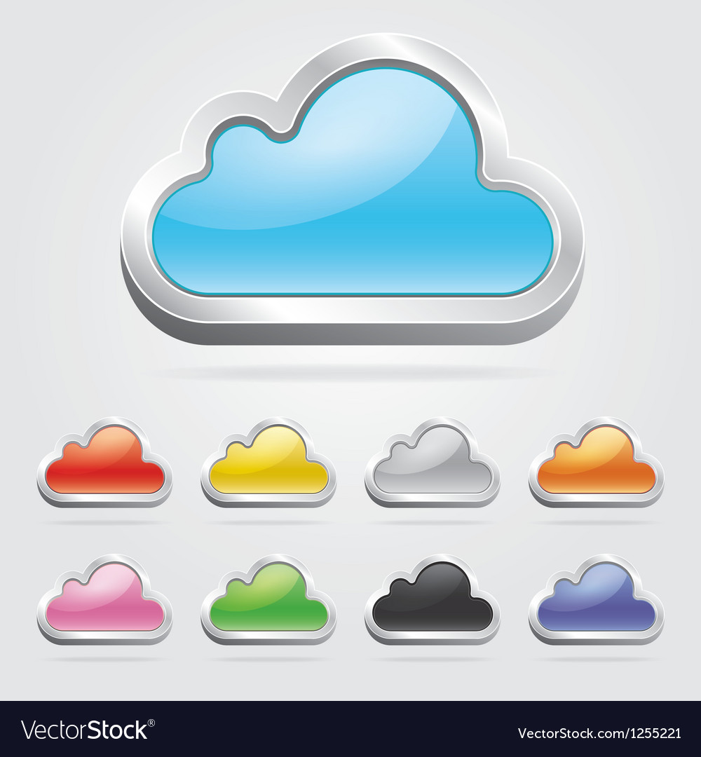 Cloud icon button set vector | Price: 1 Credit (USD $1)