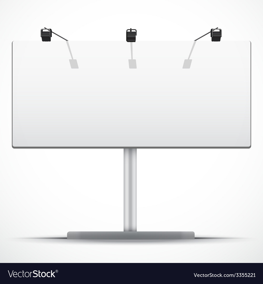 Empty wide mockup billboard with spotlights and vector | Price: 1 Credit (USD $1)