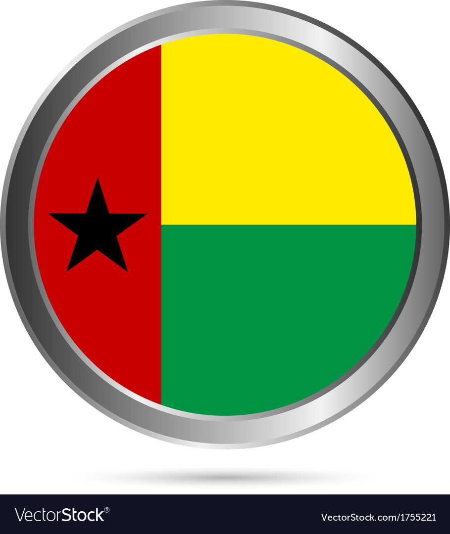 Guinea bissau flag button vector | Price: 1 Credit (USD $1)