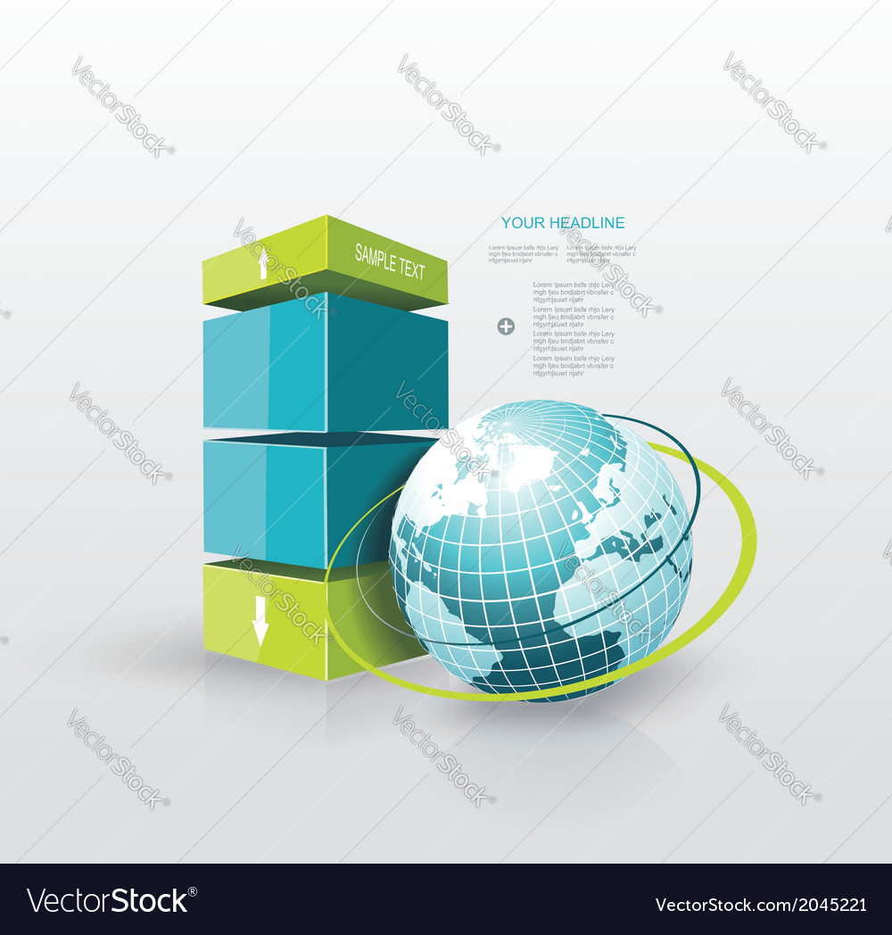 Modern design template infographic with blue globe vector | Price: 1 Credit (USD $1)