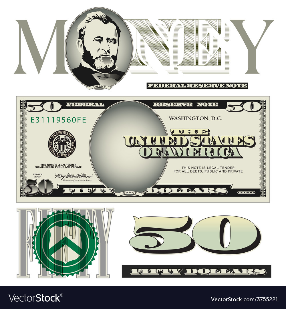 Money 50 dollars vector | Price: 1 Credit (USD $1)