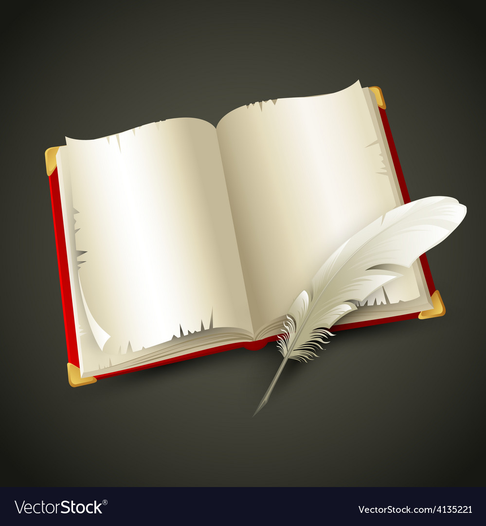 Old book and pen vector | Price: 1 Credit (USD $1)