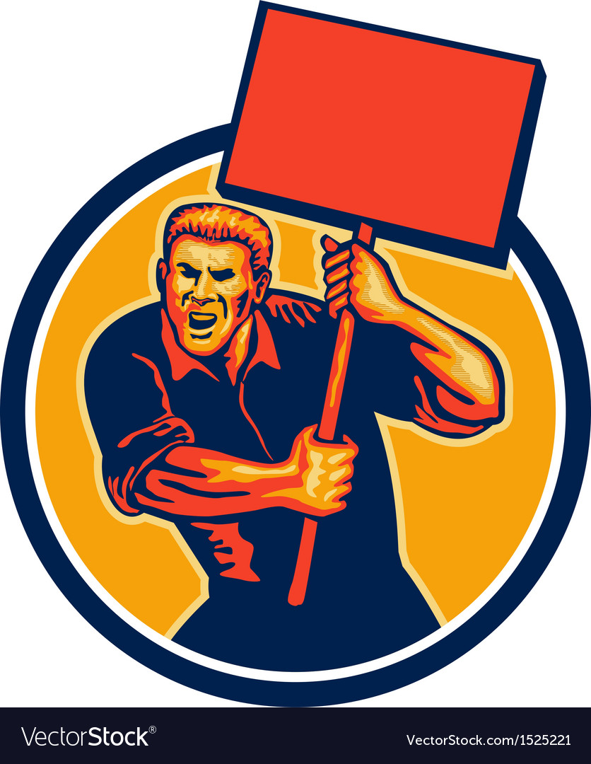 Protester activist union worker placard sign retro vector | Price: 1 Credit (USD $1)