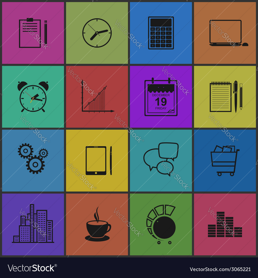 Stylish modern flat icons collection vector | Price: 1 Credit (USD $1)