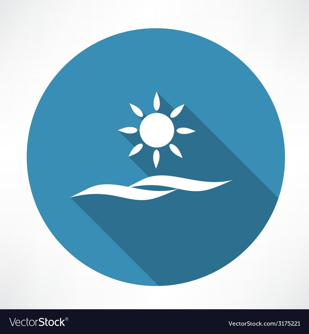 Sun and sea icon vector   Price: 1 Credit (USD $1)