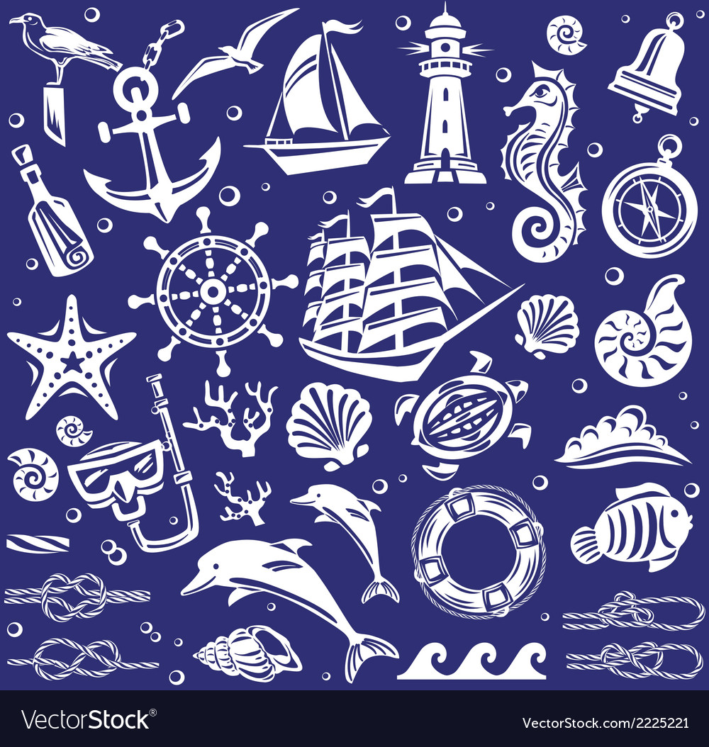 White summer sea icons set vector | Price: 1 Credit (USD $1)