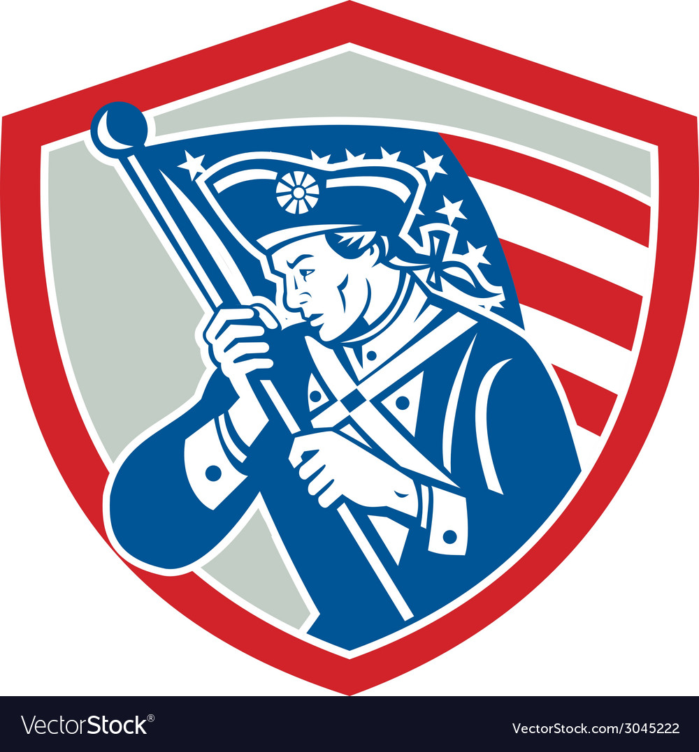 American patriot soldier waving flag shield vector | Price: 1 Credit (USD $1)