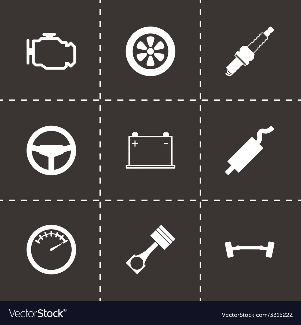 Black car parts icon set vector | Price: 1 Credit (USD $1)