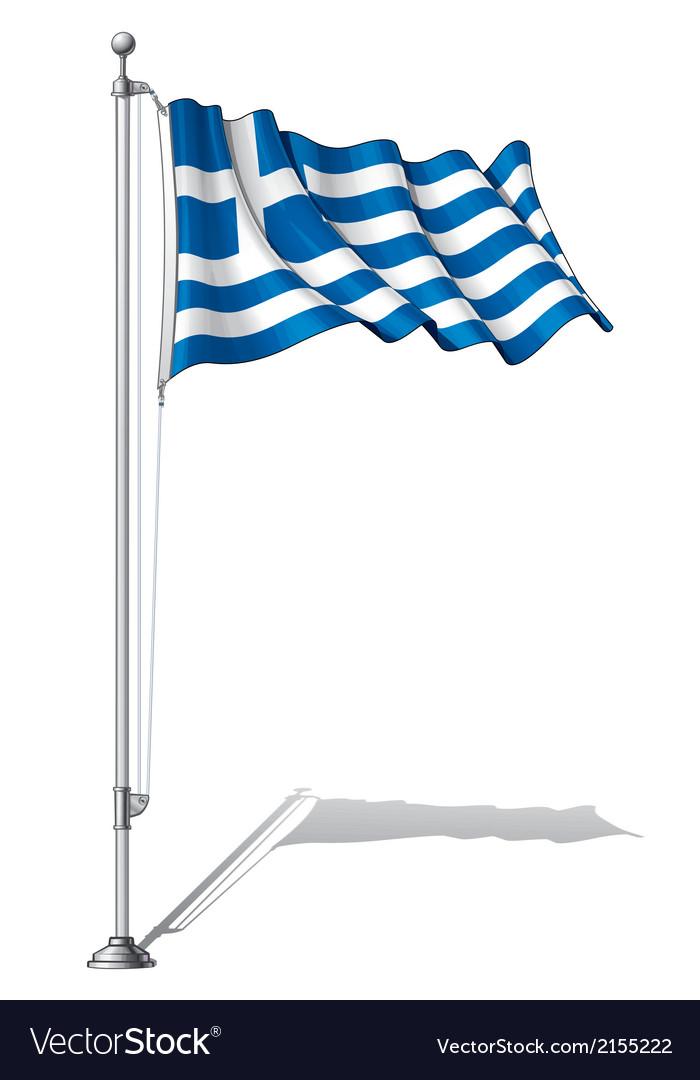 Flag pole greece vector | Price: 1 Credit (USD $1)
