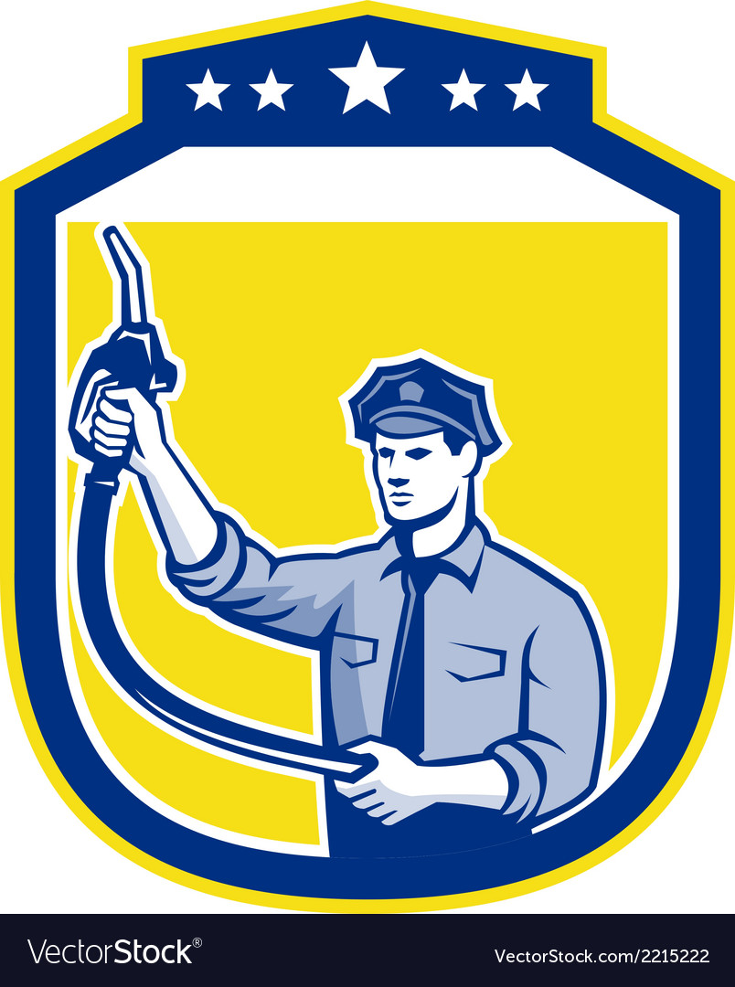 Gas jockey gasoline attendant shield vector | Price: 1 Credit (USD $1)