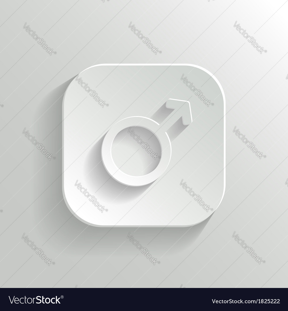 Male icon - white app button vector | Price: 1 Credit (USD $1)