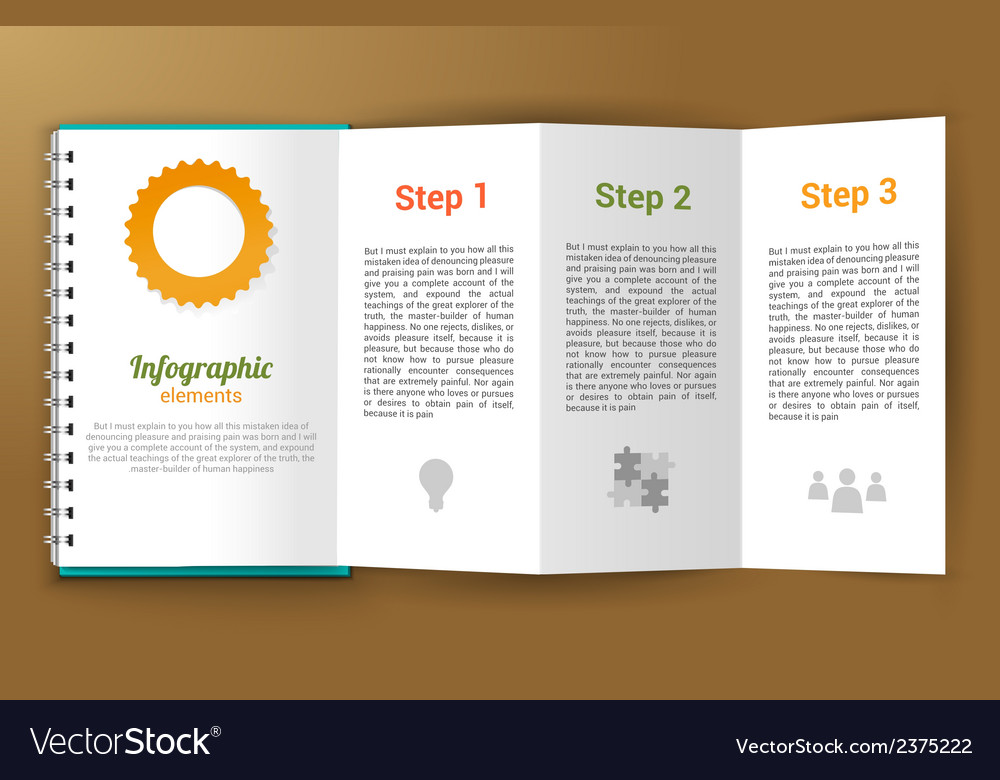 Notepad unfolded infographic vector | Price: 1 Credit (USD $1)