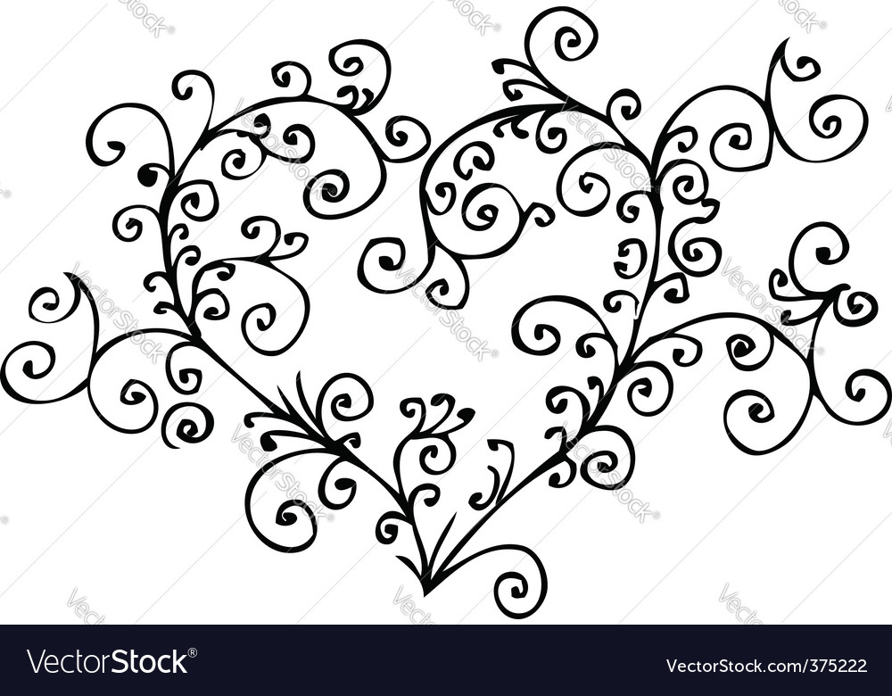 Romantic heart vignette vector | Price: 1 Credit (USD $1)