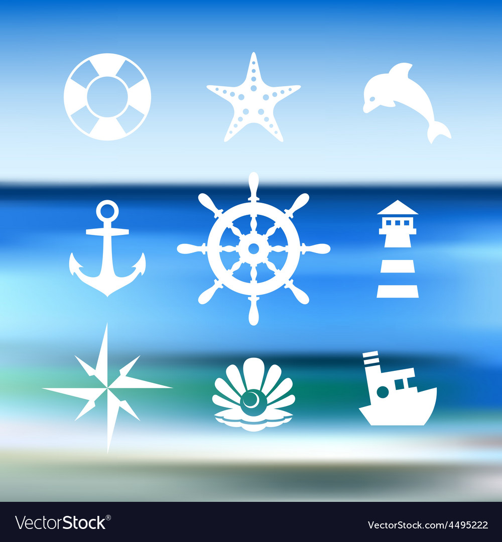 Sea icon collection isolated on a blue water vector | Price: 1 Credit (USD $1)
