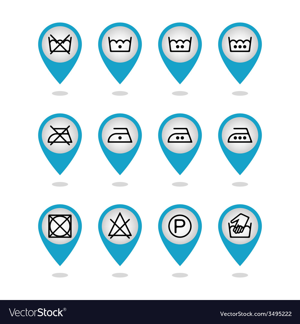 Set of instruction laundry icons care icons vector | Price: 1 Credit (USD $1)