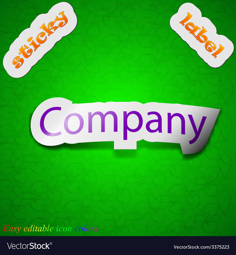 Company icon sign symbol chic colored sticky label vector | Price: 1 Credit (USD $1)
