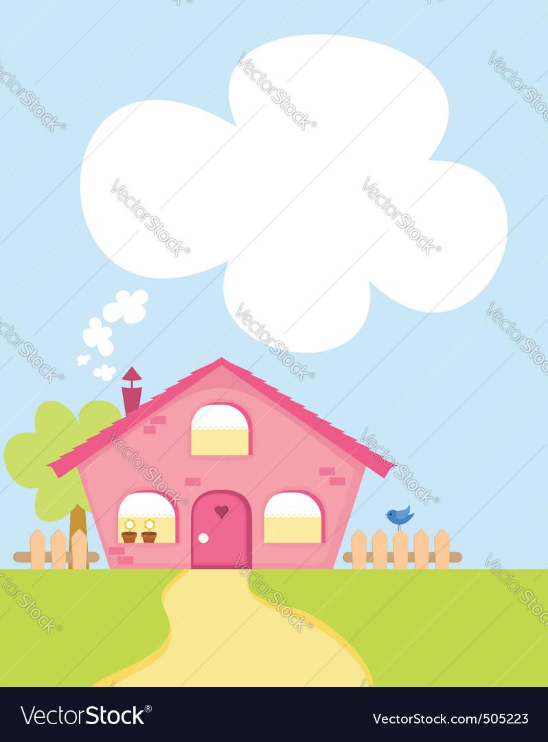Cute cartoon house with copyspace vector | Price: 1 Credit (USD $1)