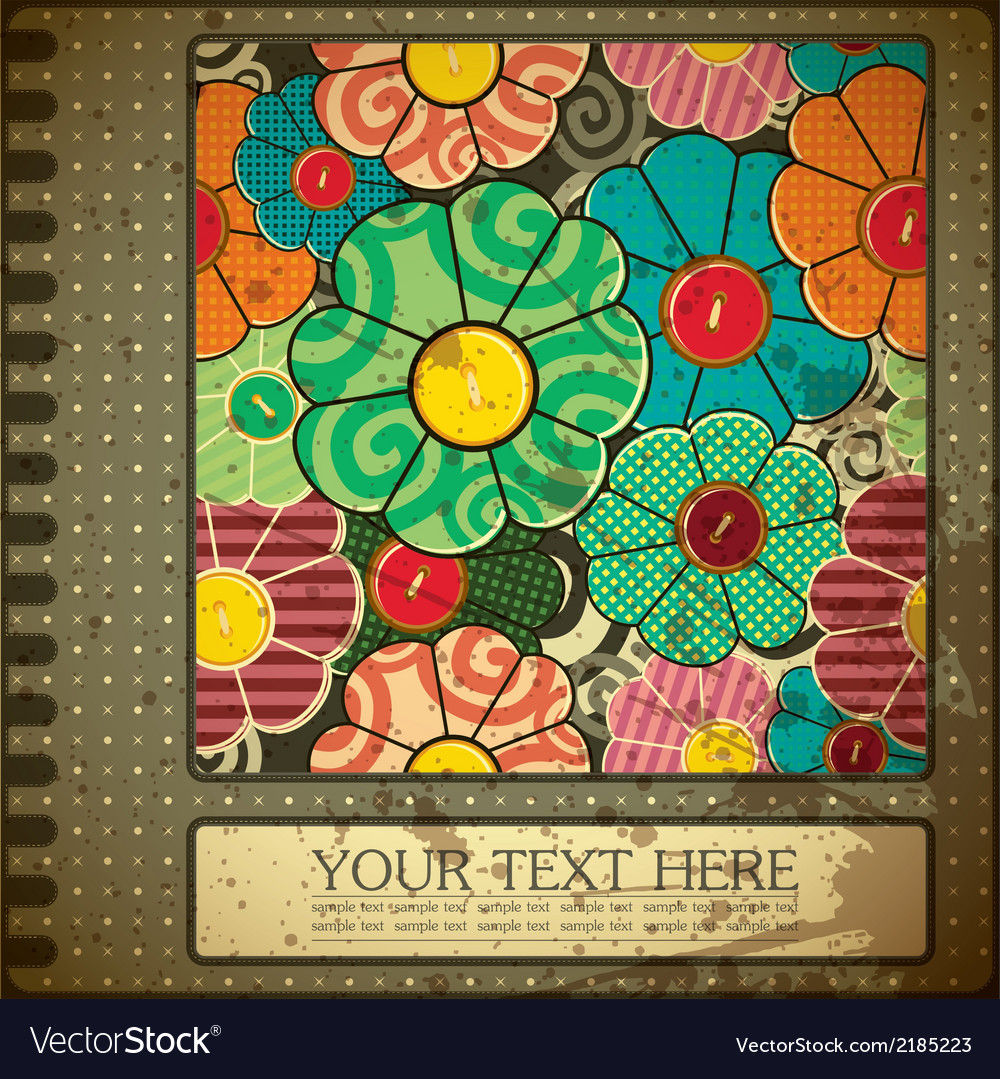 Grunge floral card with place for text vector   Price: 1 Credit (USD $1)