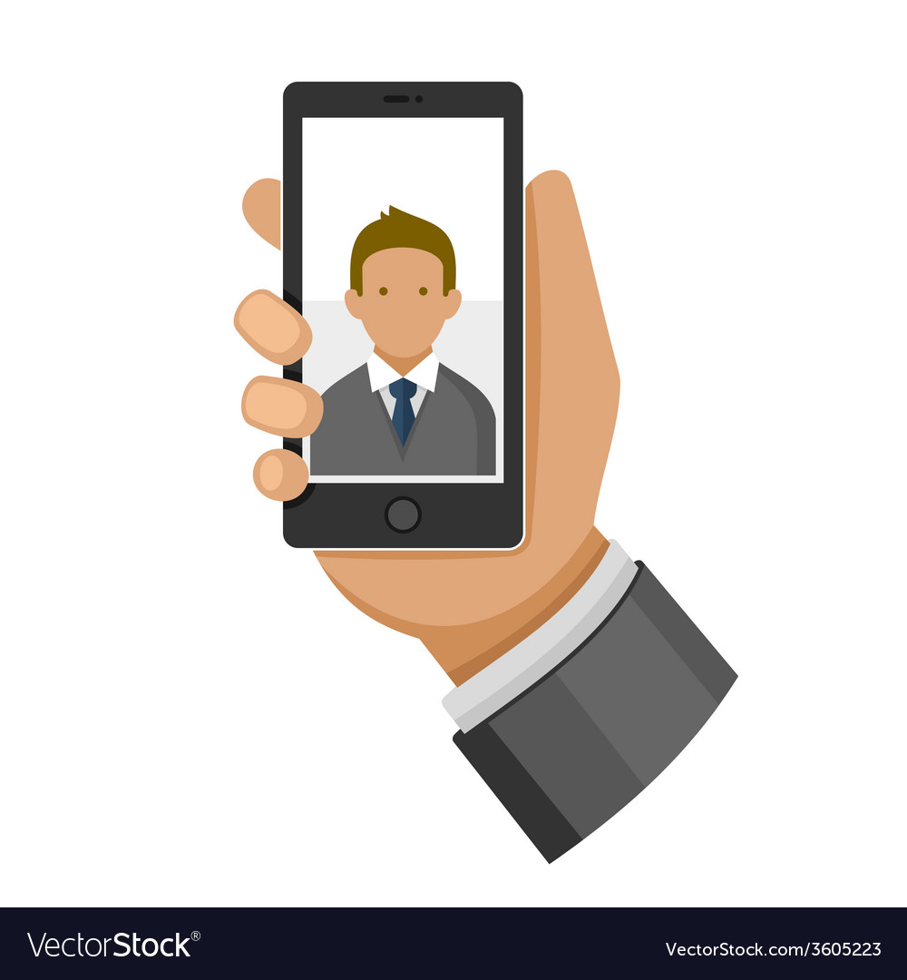Man making selfie photo on phone flat icon vector | Price: 1 Credit (USD $1)