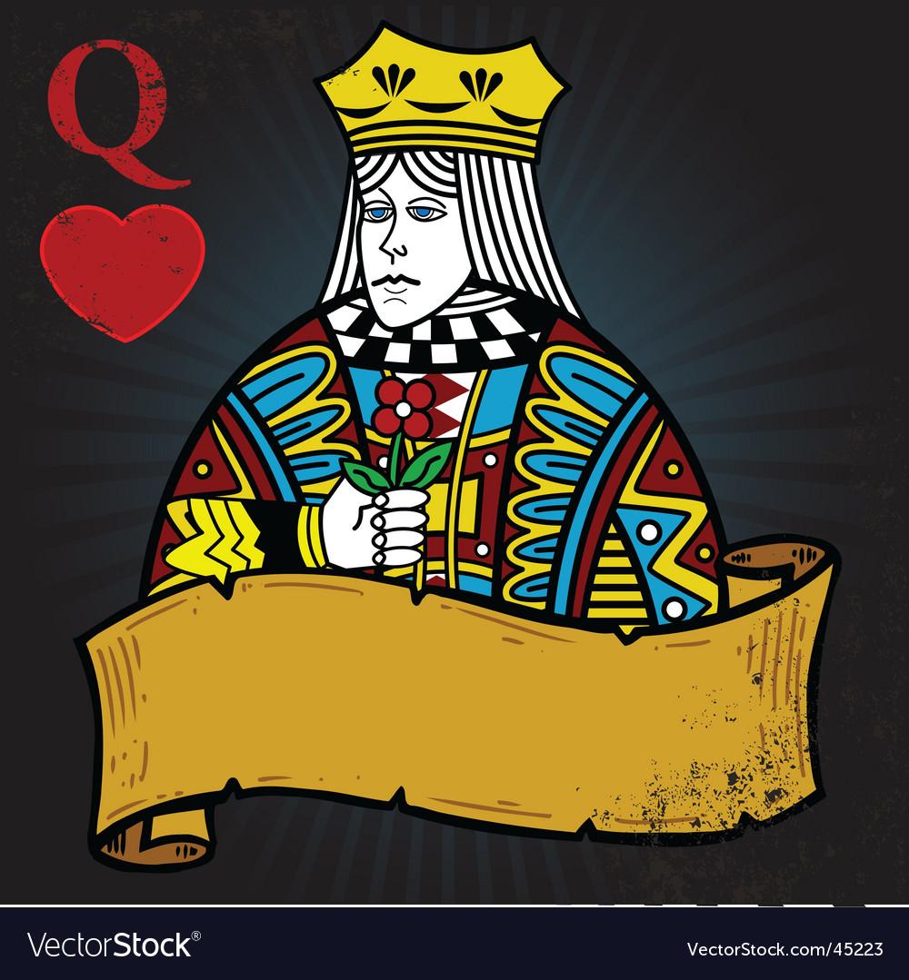 Queen of hearts banner vector | Price: 1 Credit (USD $1)