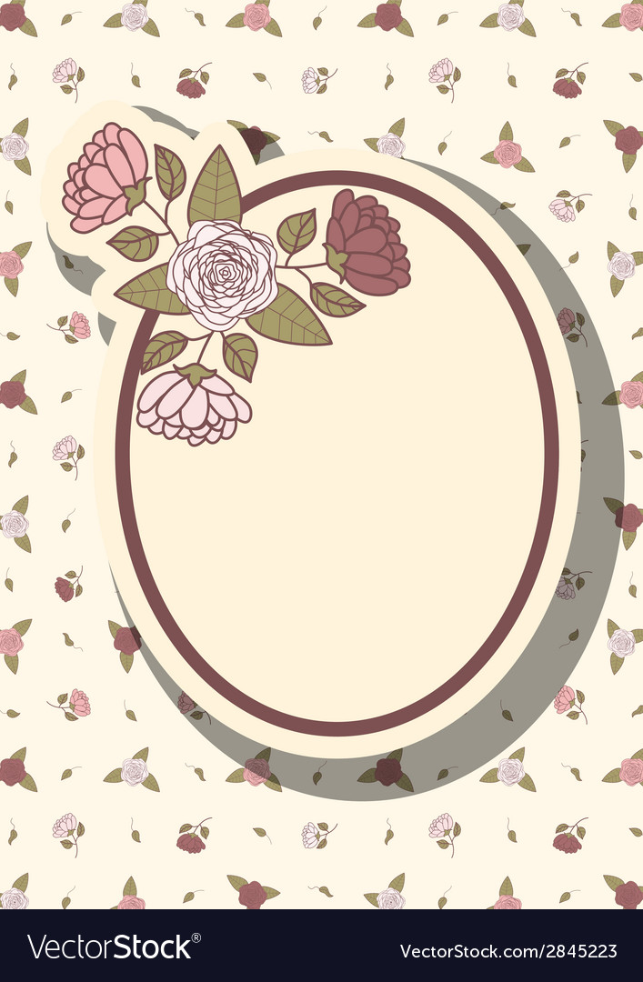 Retro frame with abstract flowers event design vector | Price: 1 Credit (USD $1)