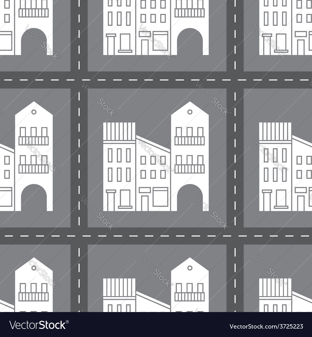 Seamless pattern with houses and streets vector | Price: 1 Credit (USD $1)