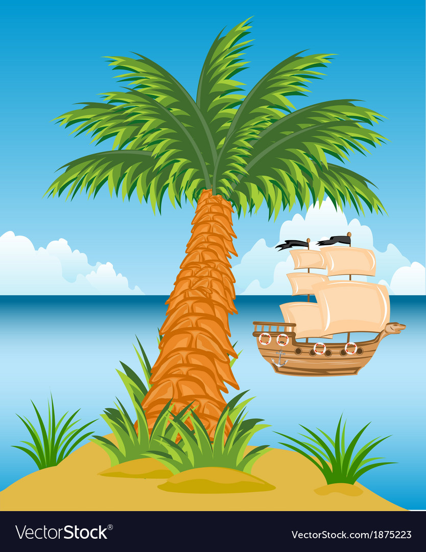 Tropical island with palm trees vector   Price: 1 Credit (USD $1)