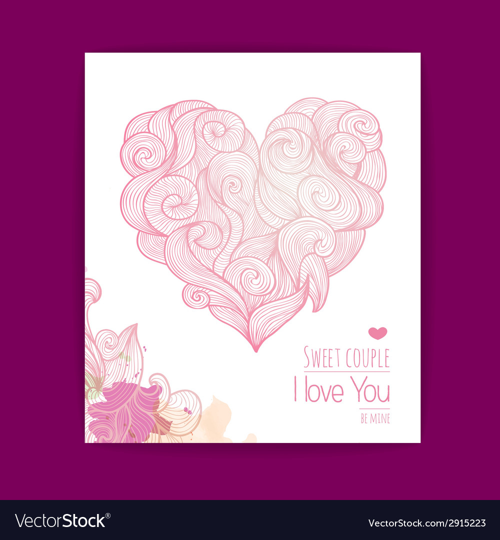 Valentines day background invitation card vector | Price: 1 Credit (USD $1)