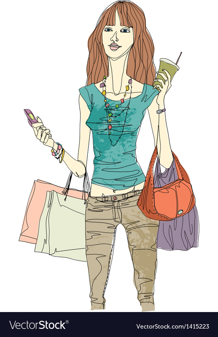 Woman holding shopping bags vector | Price: 3 Credit (USD $3)