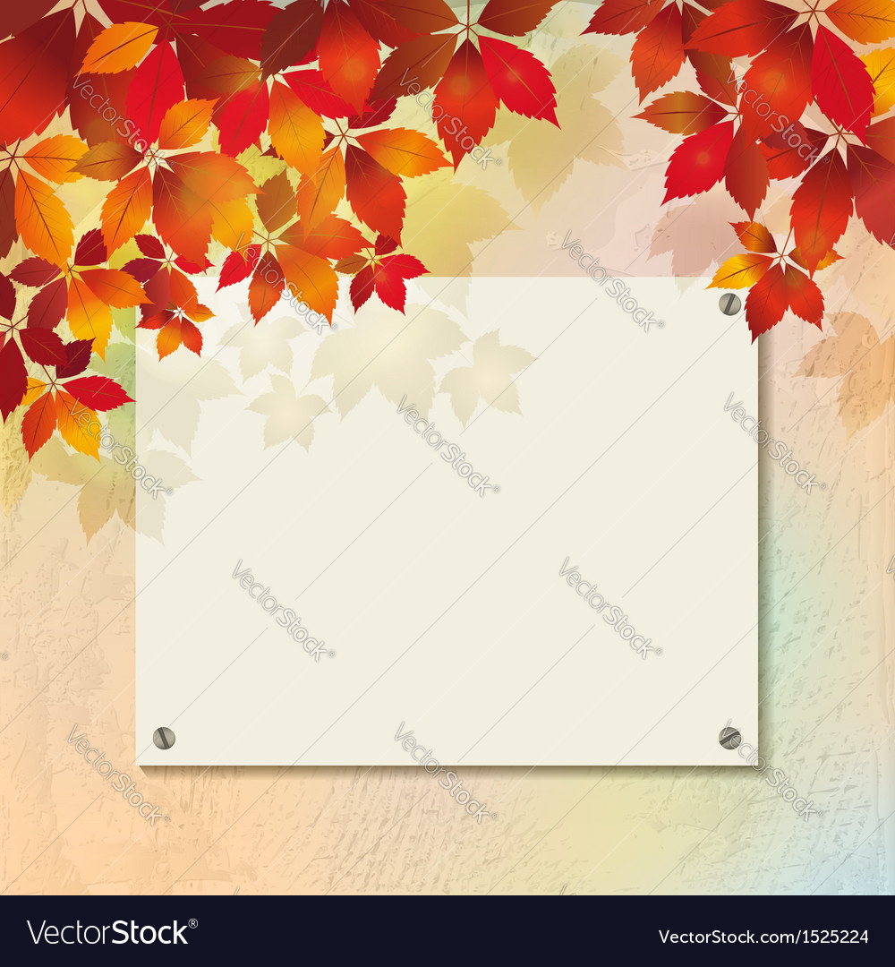 Autumn background with plastered wall billboard vector | Price: 1 Credit (USD $1)