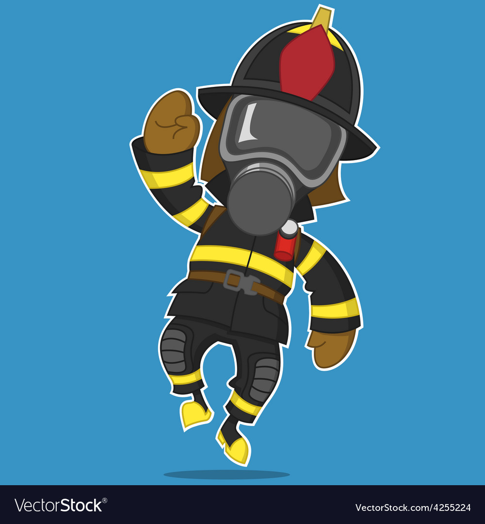 Firefighter rejoices vector | Price: 1 Credit (USD $1)