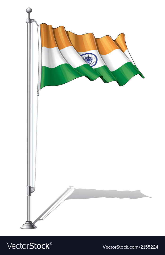 Flag pole india vector | Price: 1 Credit (USD $1)