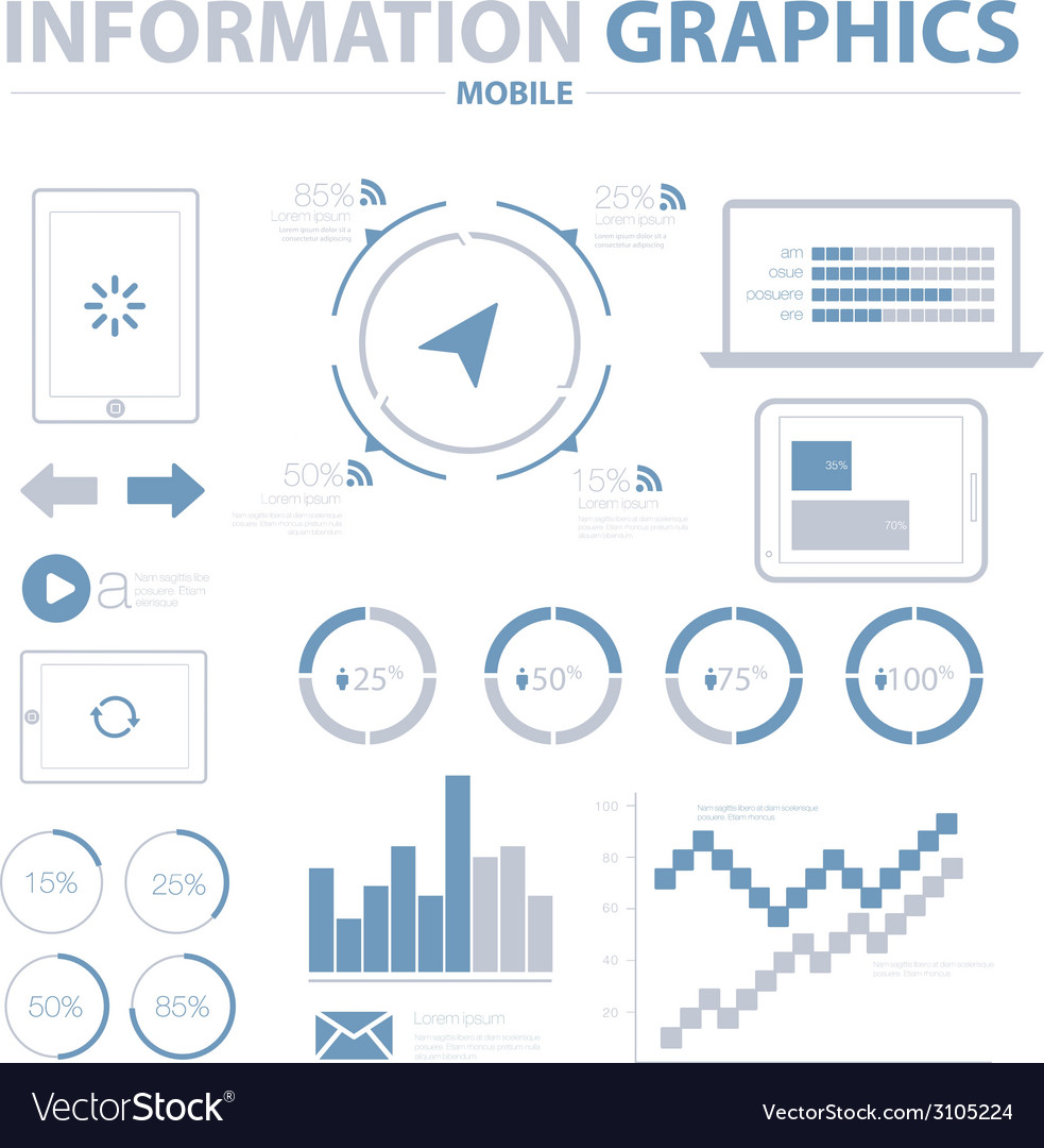 Information graphics mobile set vector