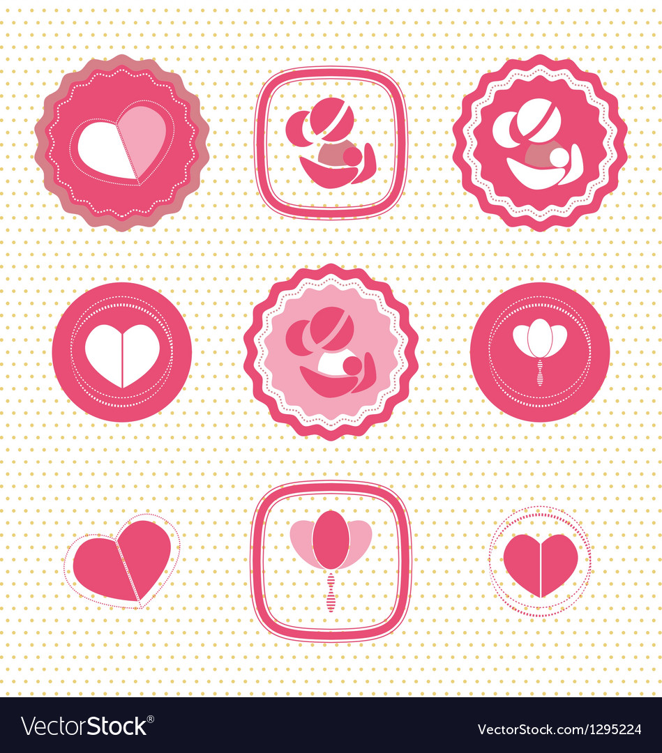 Mothers day badges and labels icon vector | Price: 1 Credit (USD $1)