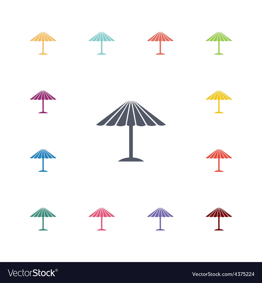 Parasol mask flat icons set vector | Price: 1 Credit (USD $1)