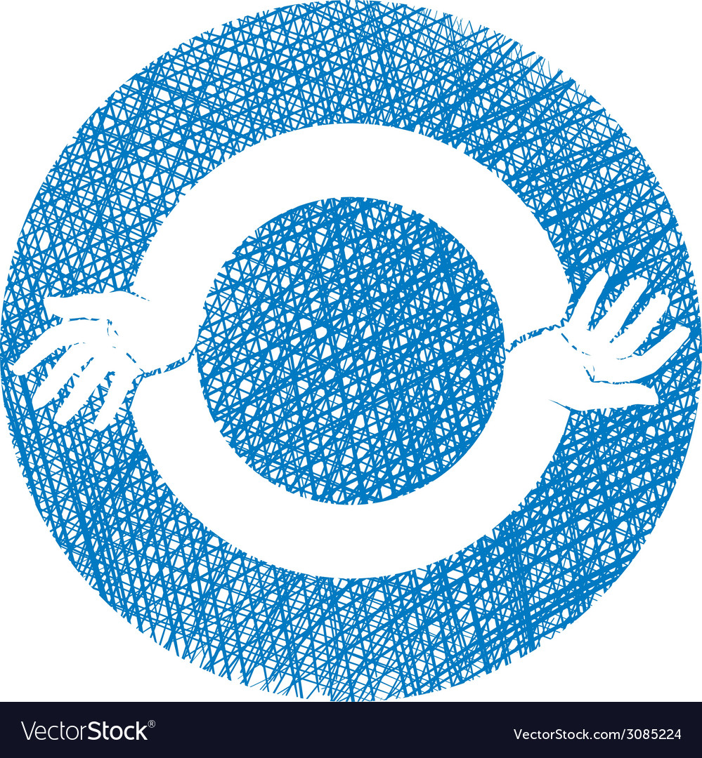 Two hands round abstract symbol icon with hand vector | Price: 1 Credit (USD $1)